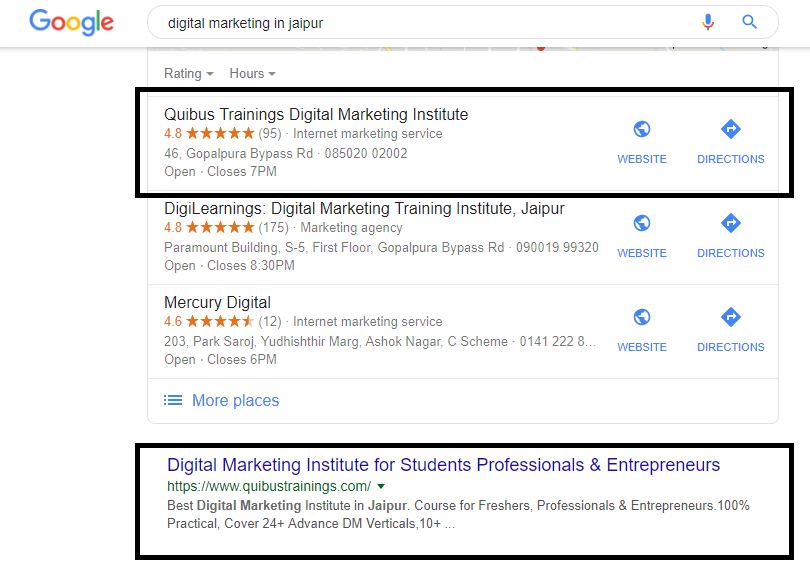 Screenshot of google SERP on the search query digital marketing in Jaipur