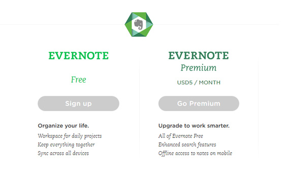 Evernote CTA below-the-fold